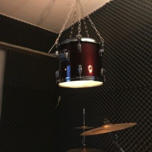 Originele wijnrode drum hanglamp